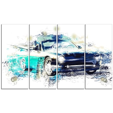 Designart Shades of Blue Car Art 48x24