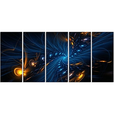 Designart Blue and Orange Illumination, 4 Piece Gallery-Wrapped Canvas, (PT3000-401)