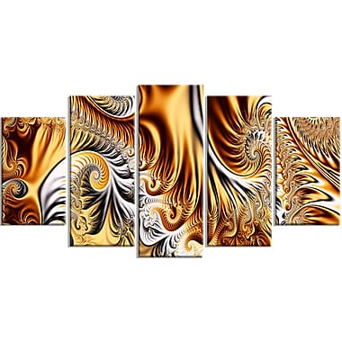 Designart Abstract Gold & Silver Ribbons Canvas Art, (PT3014-373)