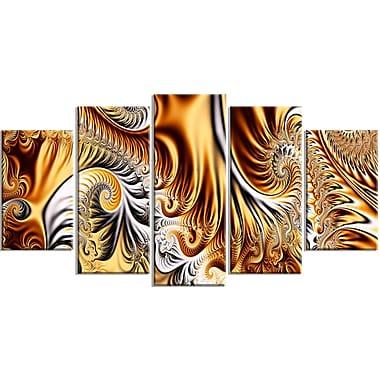 Designart – Rubans or et argent, Art abstrait sur toile (PT3014-373)