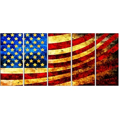 Designart God Bless America Flag Canvas Art Set, (PT3017-401)