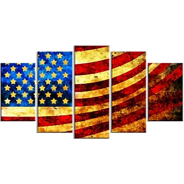 Designart God Bless America Flag Canvas Art Set, (PT3017-373)
