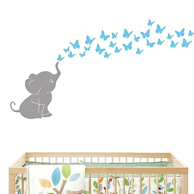 DecaltheWalls Elephant w/ Butterflies Wall Decal; Gray/Light Blue