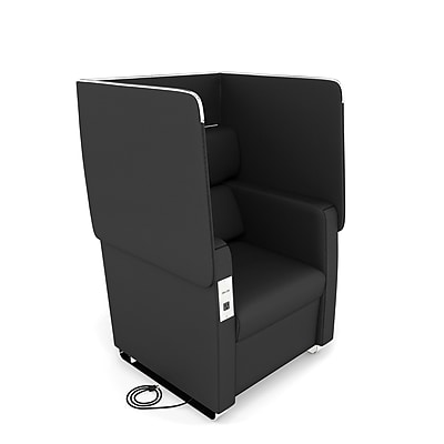 OFM Morph Series Privacy Chair with Flip-Up Privacy Panels & AC/USB Recharge Panel, Midnight, (2201-MDN)