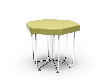 OFM Hex Series Stool, Vinyl, Leaf with Chrome Frame (66-LEF)