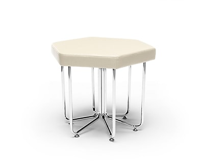 OFM Hex Series Stool, Vinyl, Linen with Chrome Frame (66-LIN)