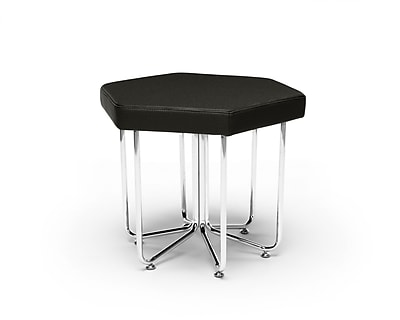 OFM Hex Series Stool, Vinyl, Midnight with Chrome Frame (66-MDN)