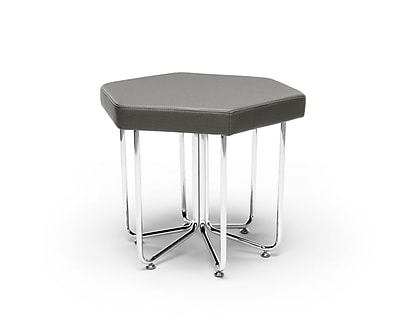 OFM Hex Series Stool, Vinyl, Slate with Chrome Frame (66-SLT)