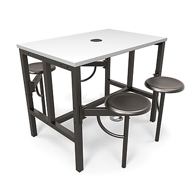 OFM Endure Series Standing Height Four Seat Table, DarkVein/White (845123054079)