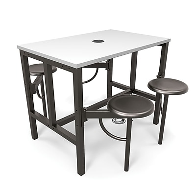 OFM Endure Series Standing Height Four Seat Table, DarkVein/White (9004-DVN-WHT)