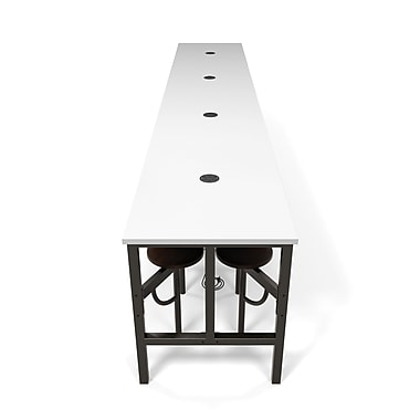 OFM Endure Series Standing Height Sixteen Seat Table, Walnut/White (845123054338)