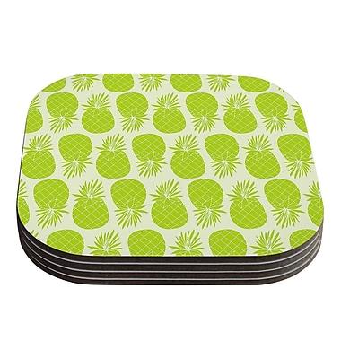 KESS InHouse Pinya Pattern Coaster (Set of 4); Lime / Green