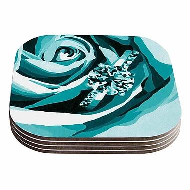 KESS InHouse Happy Engagement Coaster (Set of 4); Teal / Black