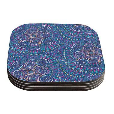 KESS InHouse Kaleidoscopic Geometric Coaster (Set of 4); Blue