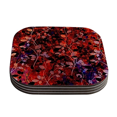 KESS InHouse Amongst the Flowers Coaster (Set of 4); Red / Black