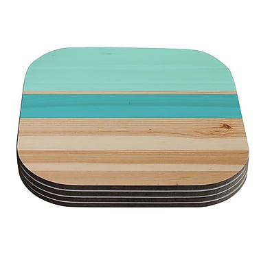 KESS InHouse Spring Swatch Coaster (Set of 4); Blue / Green / Teal