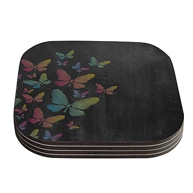 KESS InHouse Butterflies Coaster (Set of 4); Pastel