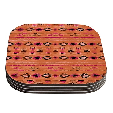 KESS InHouse Navano Tribal Coaster (Set of 4); Orange