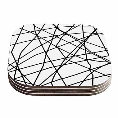 KESS InHouse Paucina Coaster (Set of 4); Black / White