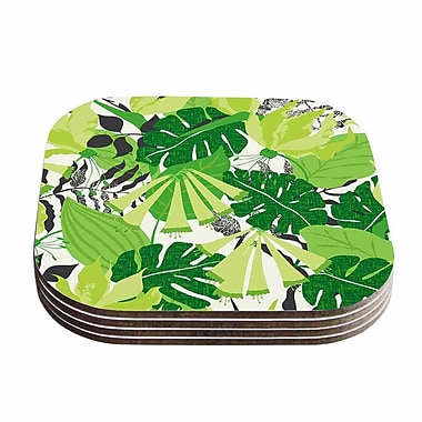 KESS InHouse Tropicana Coaster (Set of 4); Green / Lime / White