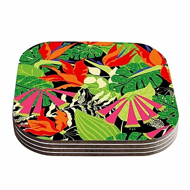 KESS InHouse Tropicana Coaster (Set of 4); Orange / Green