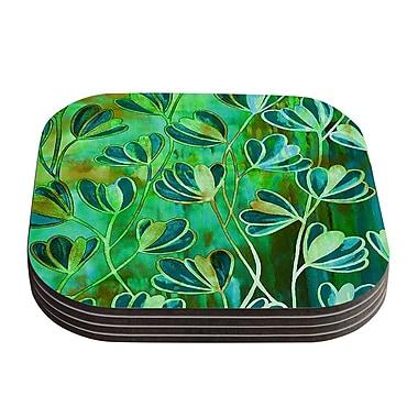 KESS InHouse Efflorescence Coaster (Set of 4); Blue / Teal / Green