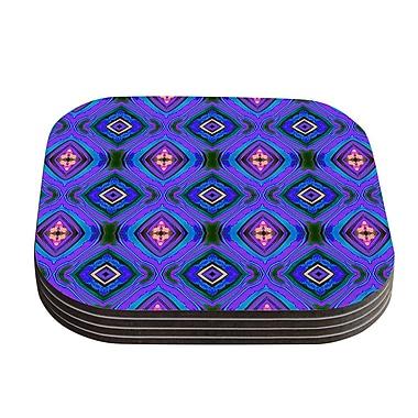 KESS InHouse Diamond Coaster (Set of 4); Dark Purple / Blue