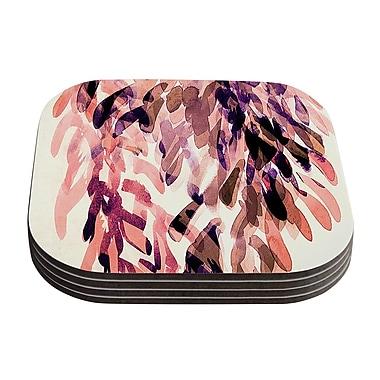 KESS InHouse Abstract Leaves Coaster (Set of 4); Orange / Brown