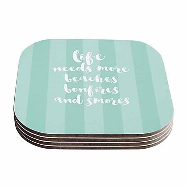 KESS InHouse Beaches & Bonfires Typography Coaster (Set of 4); Mint / Green