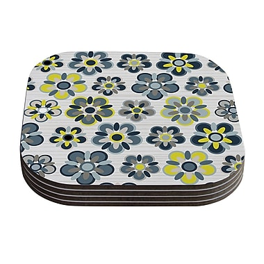 KESS InHouse Folksy Coaster (Set of 4); Blue / Yellow / Gray