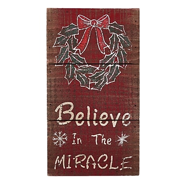 AttractionDesignHome Believe in the Miracle Christmas Sign; 9'' H x 5'' W