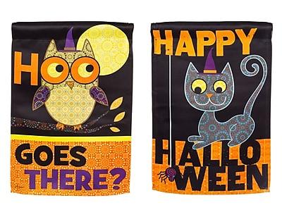 Evergreen Enterprises, Inc Halloween Owl and Cat Garden Flag
