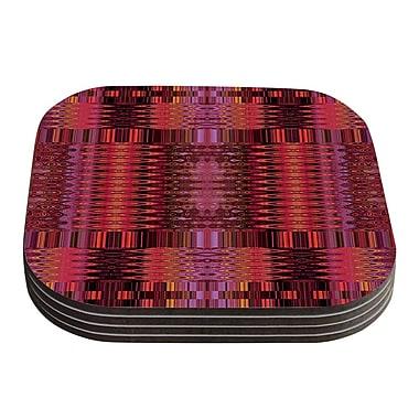 KESS InHouse Larina Nueva Coaster (Set of 4); Red / Marsala