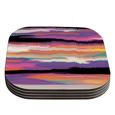 KESS InHouse Artika Coaster (Set of 4); Purple / Orange