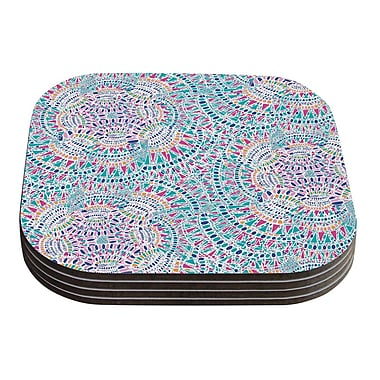 KESS InHouse Kaleidoscopic Geometric Coaster (Set of 4); White / Aqua