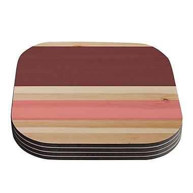 KESS InHouse Spring Swatch Coaster (Set of 4); Red / Pink