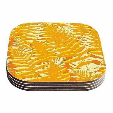 KESS InHouse Fun Fern Coaster (Set of 4); Orange / Gold