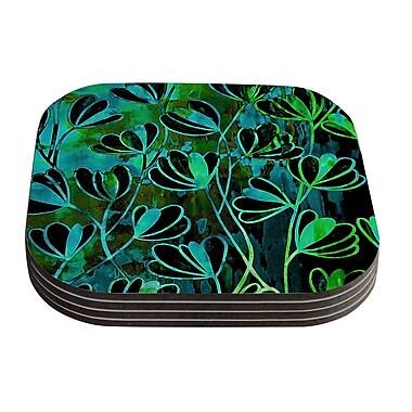 KESS InHouse Efflorescence Coaster (Set of 4); Lime Green / Teal / Black