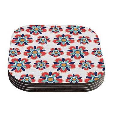 KESS InHouse Folksy Coaster (Set of 4); Red / Teal