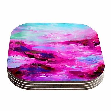 KESS InHouse Taken By The Undertow Coaster (Set of 4); Pink / Magenta