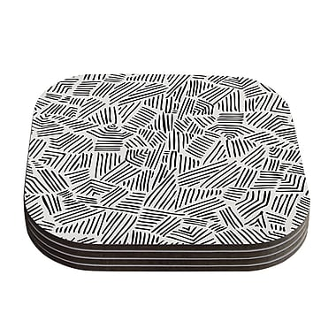 KESS InHouse Inca Coasters (Set of 4); Black