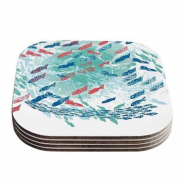 KESS InHouse Underwater Life Fish Coaster (Set of 4); White / Aqua