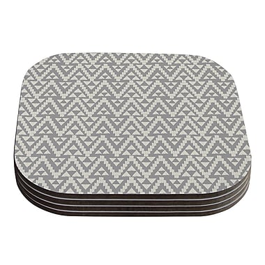 KESS InHouse Geo Tribal Coaster (Set of 4); Gray Tribal
