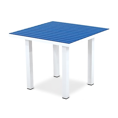 POLYWOOD Euro Dining Table; Textured White Aluminum Frame / Pacific Blue