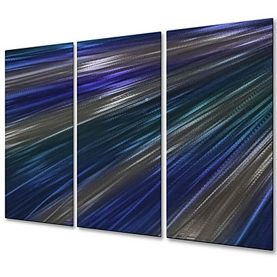 All My Walls 'Blue Rays Of Light IV' by Ash Carl 3 Piece Graphic Art Plaque Set WYF078276363655