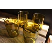 Bottles & Wood Wine Bottle Tumbler Glass (Set of 4); Amber