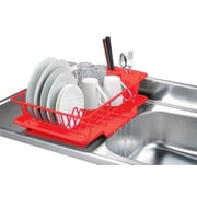 Home Basics 3 Piece Dish Rack w/ Tray; Red