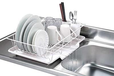 Home Basics 3 Piece Dish Rack w/ Tray; White