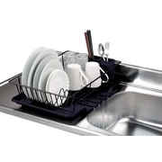 Home Basics 3 Piece Dish Rack w/ Tray; Black