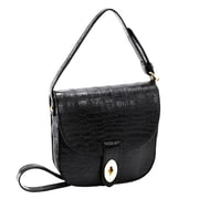 Parinda Maya Black Textured Faux Leather Crossbody (11145)